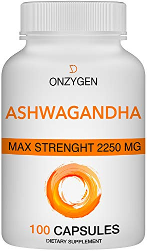 Ashwagandha – 100 Capsules 2250MG – Organic Ashwagandha Root Powder Extract – Anxiety Relief -Stress Relief – Mood Enhancer – Cortisol & Adrenal Support – Adrenal Fatigue – Thyroid Support Supplements