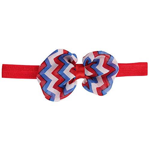 LiLiMeng Newborn Baby Girls 4th of July Star Stripe Flowers Elastic Hairband Headband