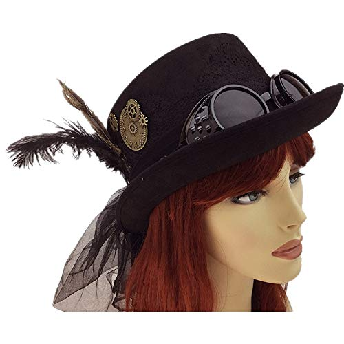 Storm Buy ] Steampunk Top Hat Women Lady Feather Halloween Costume Cosplay Party with Goggles (Women Feather) -