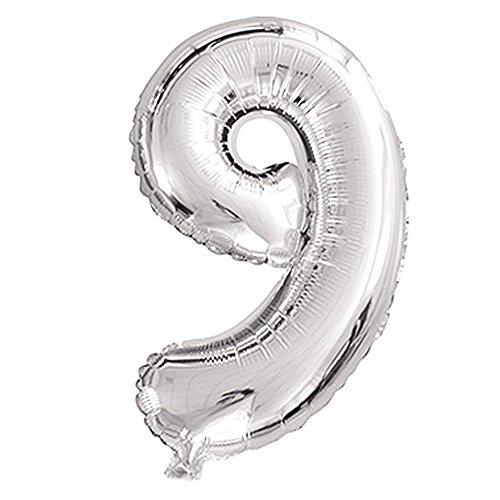 Balloons,32 inch 0-9 Helium Foil Party Mylar Balloons Birthday Decorations (Silver-Nine) ()