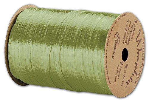 (Solid Raffia - Pearlized Wraphia Jungle Green Ribbon, 1/4