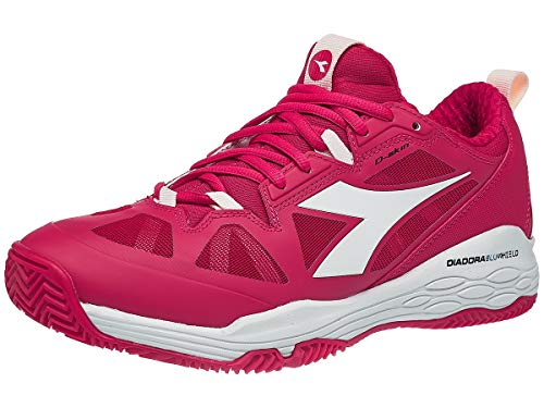 (Diadora Women`s Speed Blushield Fly 2 Clay Tennis Shoes Virtual Pink and White (9 Virtual Pink and White - TennisExpress)