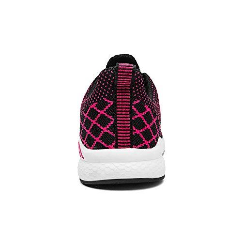 rossa Sneakers Camminata Cross da Paia Traspirante Maglia Calzature Uomo Donna Palestra Easondea Scarpe Corsa Training Sportive Leggera Rosa T8nqZz