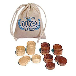 WE Games Wood Backgammon Chips with Cloth Pouch - Brown & Natural 1.5 in. Diameter