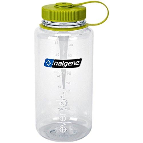 Nalgene Tritan Wide Mouth BPA-Free Water Bottle, Clear w/ Green Cap, 32-Ounces