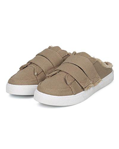 Alrisco Women Sneaker Mule - Ronde Neus Slip Op Sneaker - Lace Gratis Mule Sneaker - Hd76 By Ml Collection Nude Canvas