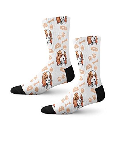 Cavalier King Charles Spaniel Dog Bone Bowl Collar Novelty Cuff Crew Men Women Socks Medium