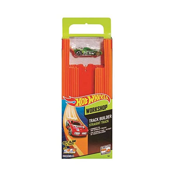 Hot Wheels- Track Builder Confezione da 15 Rettilinei e Veicolo Incluso, Multicolore, BHT77 4 spesavip
