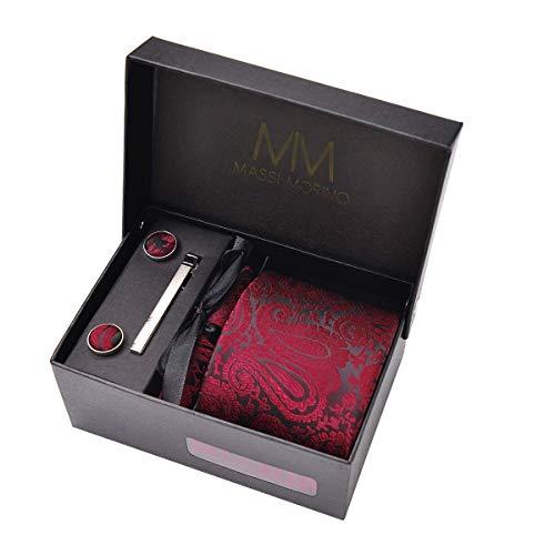 Massi Morino Mens Tie Set (Cufflinks and tie set) Box including Men ties + Cufflinks + handkerchief/darkredtie tiedarkred darkred cerise claret crimson reddish ruddy paisley paisleypattern