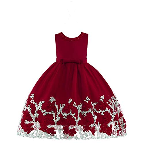 Price comparison product image Moonker Girls Princess Wedding Dress 2-7 Years Old,Baby Girls Kids Sleeveless Flower Ball Gown Formal Party Dresses (5-6 Years Old, Hot Pink)