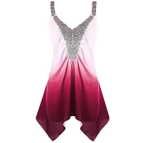 CreazyDog® Fashion Womens Casual Plus Size Sequins Ombre V-Neck Print Tank Top Blouse Vest (Wine Red, XXXL)
