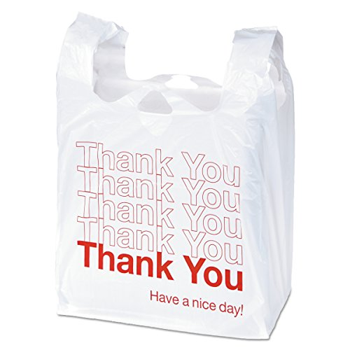 - Universal 63036 Plastic Thank You Shopping Bag, 11.5 x 3.15 x 22, 0.55 mil, White/Red (Box of 250)