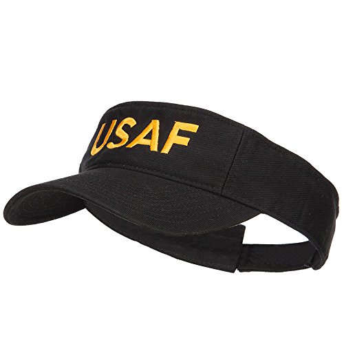 E4hats USAF Embroidered Cotton Washed Visor - Black OSFM (Cotton Embroidered Visor)