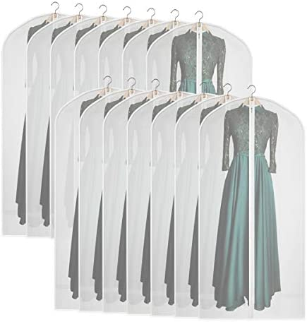 "Syeeiex Long Gowns Protector 60""Clear Garment Bags for Storage and PEVA Dress Bag with Durable Zipper for Women Set of 14"