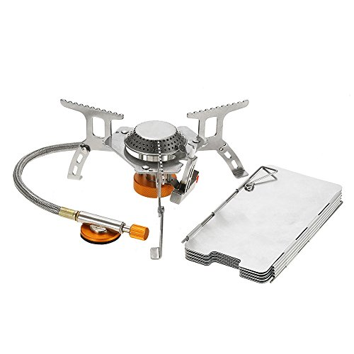 Lixada Camping Gas Stove,Ultralight Compact Foldable Backpacking Gas Stove with 9-Plate Camp Stove Windscreen Windshield Cookware Set