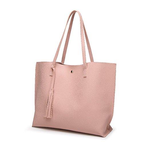 Las mujeres Bolsa blanda de cuero Bolsos Tophandle Señoras Borla Tote Bolso bolsos mujer bolso mujer Borgoña Pink