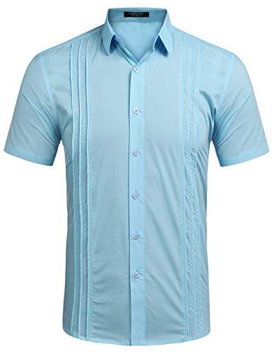 COOFANDY Mens Short Sleeve Guayabera Cuban Shirt Wedding Party Beach Dress Shirt