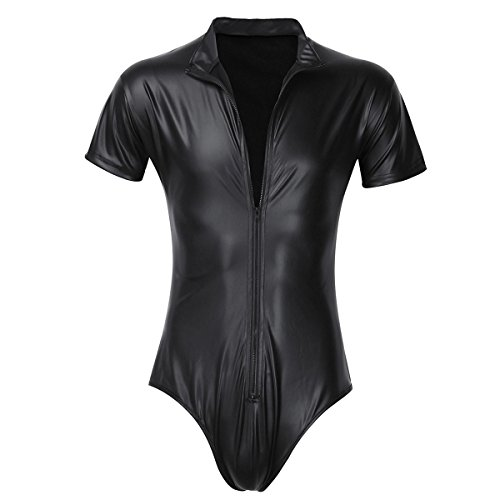 Mens Bodysuit (iiniim Men's Leather Short Sleeves Zipper One Piece Leotard Bodysuit Underwear (XXXL, Black))