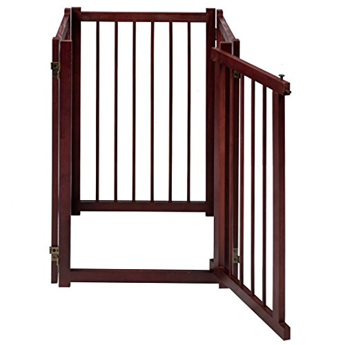 GOOD LIFE 81 Inch Wooden Pet Gate with Walk Through Door Adjustable Freestanding Fence Folding Dog Gate 4 Panel Coffee Color PET343 by GOOD LIFE USA (Image #3)