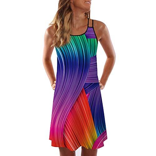 (Women's Summer Boho Floral Print Sleeveless Mini Dress Casual Vintage Cocktail Party Tank Dresses Beach Sundress)