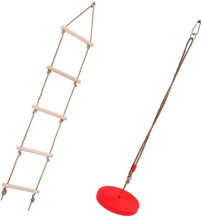 B Blesiya Escalera de Cuerda de Escalada con 5 Peldaños con Asiento de Columpio Colgante Resistente Juguete para Desarrollo de Habilidad Motora de Niños - Rojo: Amazon.es: Juguetes y juegos