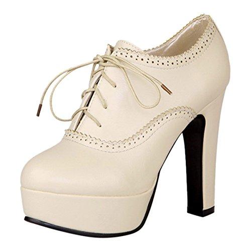 Women's High Heels Platform Pumps Lace Up Shoes Spring Autumn Casual