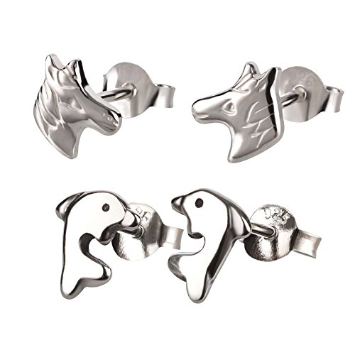 SL de Silver Juego de 2niños pendientes delfín y caballo 925plata en caja de regalo