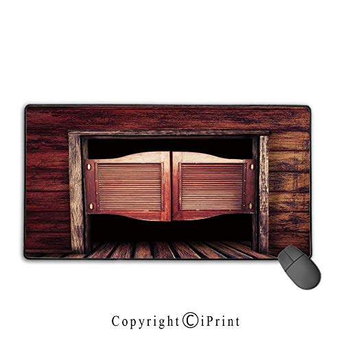Extended gaming mouse pad with stitched edges,Western,Old Rustic Wooden Door and Wild West Cowboy Antique Bar Saloon Door Picture,Maroon and Brown,Suitable for laptops, computers, PCs, keyboards,9.8