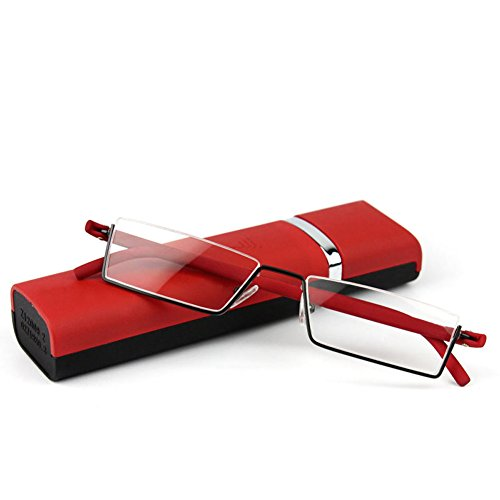 Doober Flexible Black Tr90 Half Frame Semi Rimless Reader Reading Glasses With Case (Red, - Square Semi Rimless Glasses