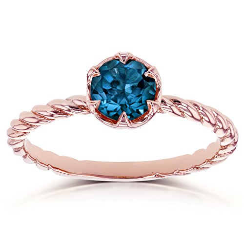 London Blue Topaz Twisted Solitaire Ring 1/2 CTW in 14k Rose Gold (Topaz Square Blue Ring Solitaire)