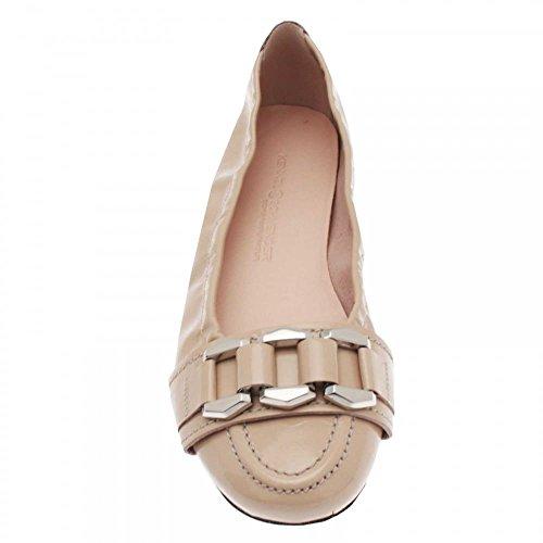 K&s Womens Chain Detail Ballerina Pump Cream Patent