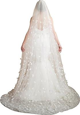 Newdeve 2.5M 1T White Wedding Veils Lace Appliques Free Comb