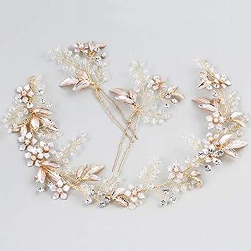 Amazon Com Boho Women Prom Headb Wedding Hair Vine Pins Gold Leaf