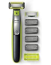 Philips OneBlade Face + Body - Trimmer, scheerapparaat en styler - Geschikt voor gezicht en lichaam - 4 Stoppelkamen - 1 Lichaamskam - Nat en droog gebruik - 60 Minuten gebruikstijd - QP2630/30