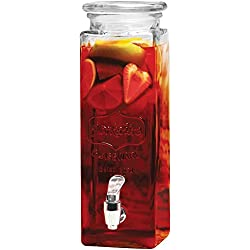 Circleware Yorkshire Mason Jar Tall Square Glass Beverage Dispenser with Lid, 2.5 Quarts, Entertainment Kitchen Glassware Pitcher for Water, Juice, Beer, Wine, Liquor, Kombucha Iced Tea & Cold Drinks