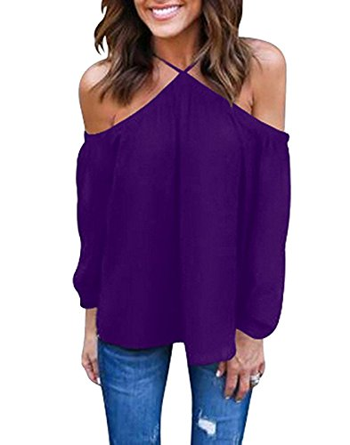 - Vemvan Women's Spaghetti Halter Off The Shoulder Blouse Long Sleeve Shirt Tops Purple