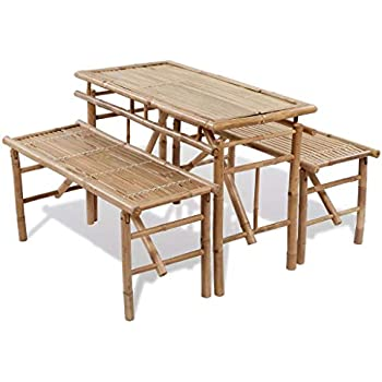 Amazon Com Outsunny 4 Wooden Outdoor Folding Picnic