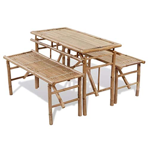 Festnight 3 Piece Folding Picnic Beer Table with 2 Foldable Seating Bench Chair Set Portable Bamboo Outdoor Dining Furniture for Patio,Garden,Camping,Backyard Use
