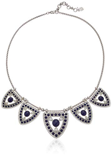 Lucky Brand Women's Clustered Chain Pearl and Lapis Collar Necklace, Silver, One Size