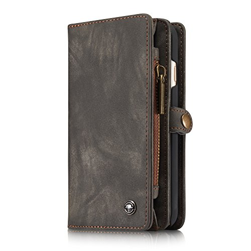 Iphone 6/Iphone 6S Leather Wallet Phone Case Card Holder Detachable Magnetic Slim Case with Zipper Storage