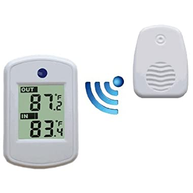 Ambient Weather WS-04-WHITE Wireless Thermometer with Indoor and Outdoor Temperature (White)