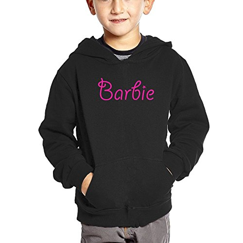 QTHOO Toddler's Long Sleeve Barbie Text Lightweight Hoodie With Pocket For Kids Sweetheart Toddler Doll