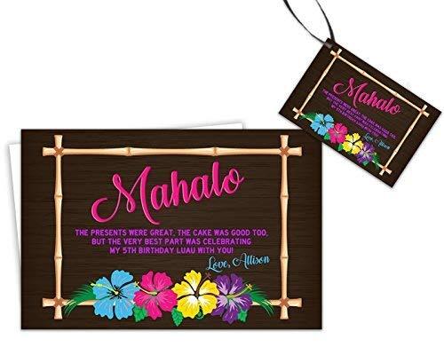 Amazon Com Mahalo Luau Thank You Cards Tropical Party Handmade