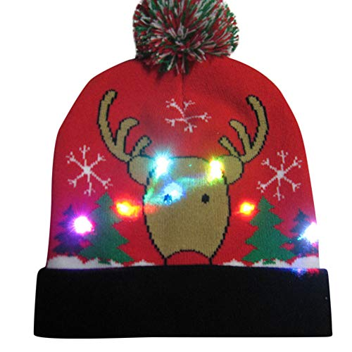 Clearance Sale!ZYooh LED Light-up Beanie Hat Kids and Teens Knitted Ugly Sweater Holiday Xmas Christmas Cap (I)