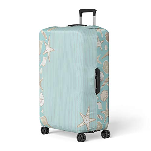 Semtomn Luggage Cover Seashell Beach Party Variety of Shells on Aqua Teal Travel Suitcase Cover Protector Baggage Case Fits 18-22 Inch (Best Seashell Beaches On The East Coast)