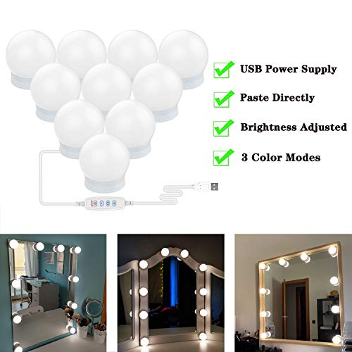 sylvwin Vanity Mirror Lights,Hollywood Style Mirror Lights Kit with 10 Dimmable LED Bulbs,Vanity Makeup Light with 3 Color Modes & 10 Brightness for Dressing Mirror(USB Cable,Not Include Mirror)