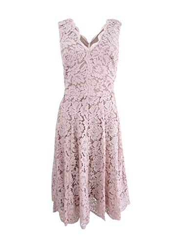 - Vera Wang Women's Sleeveless Double Vneck Scallop Lace Cocktail Dress, Blush, 10