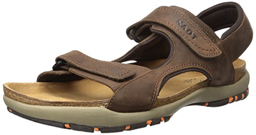 Cork Footbed Sandals (Naot Men's Electric Flat Sandal, Brown, 45 EU/12 M US)