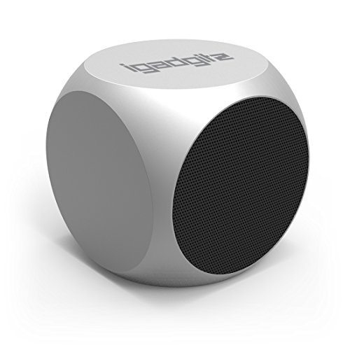 iGadgitz Al Series: 'The Cube' Portable Wireless Stereo Bluetooth Brushed Aluminium Travel Speaker (3W Power with Rich Bass, Bluetooth 3.0) in Steel Silver