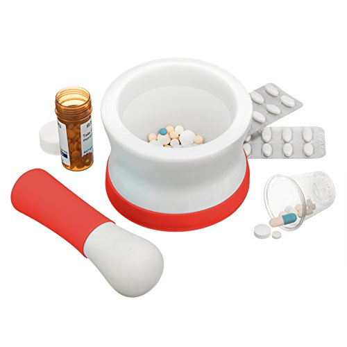 Porcelain Mortar and Pestle Set. Choice of 4 colors. Perfect for crushing pills in chemistry or kitchen. Small, unpolished ceramic and non-slip. (Sweet Chili Red)
